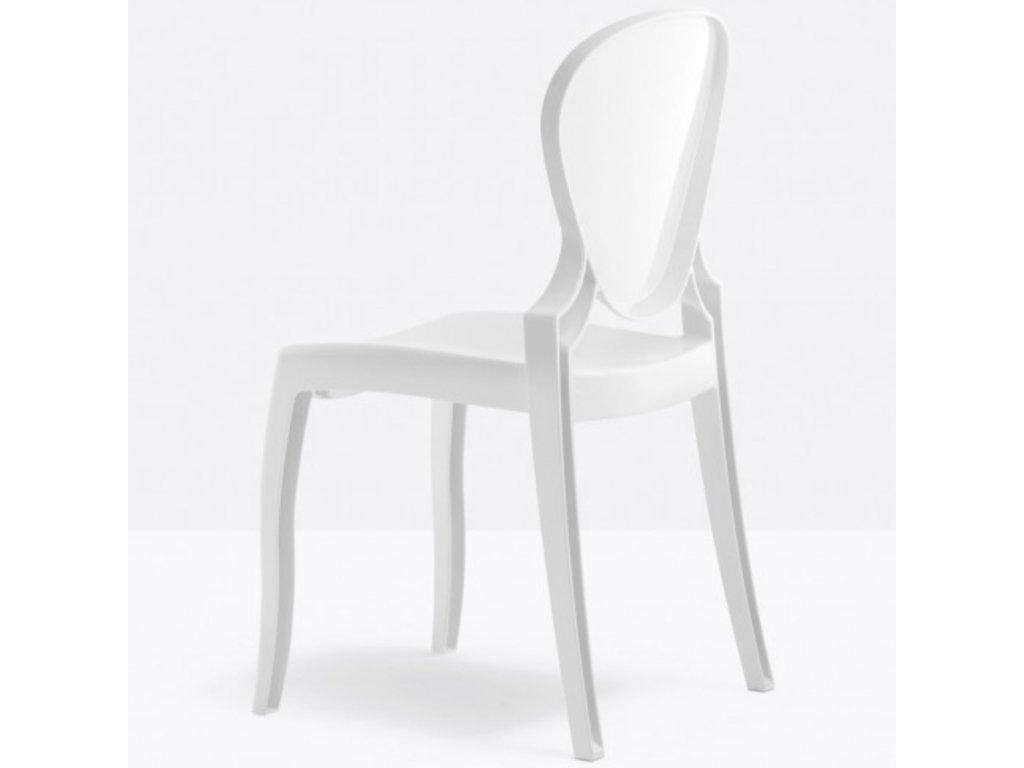 Bílá plastová židle Queen 650