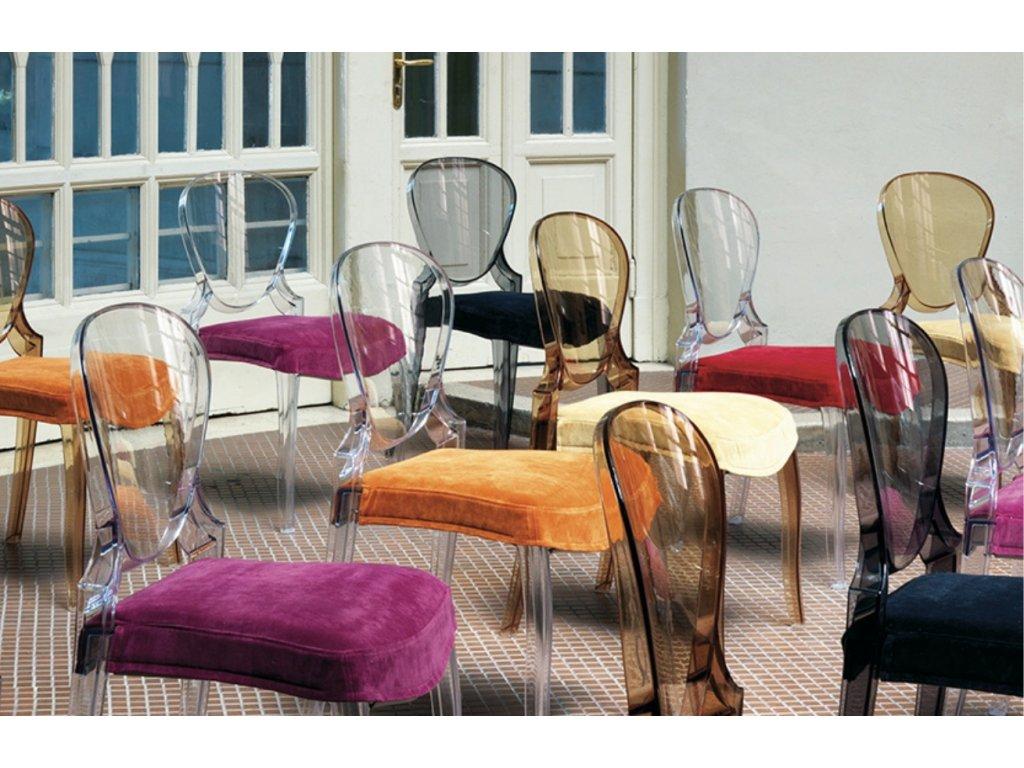 Jantarová plastová židle Queen 650
