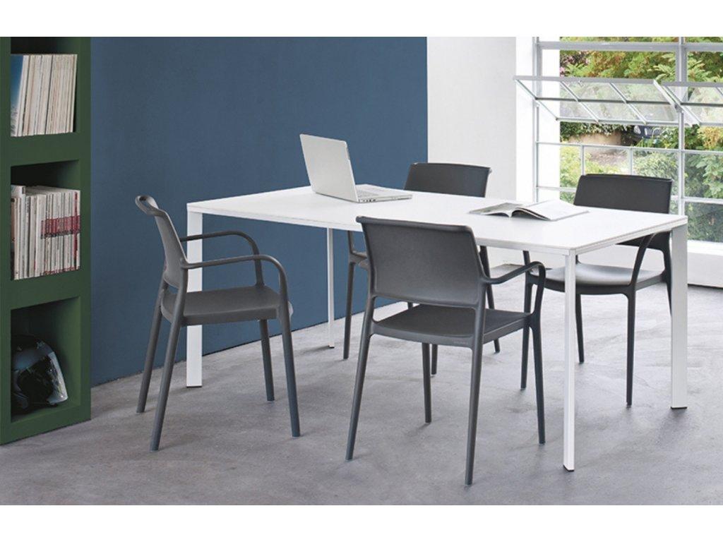 Bílý kovový jídelní stůl Logico 179x89 cm