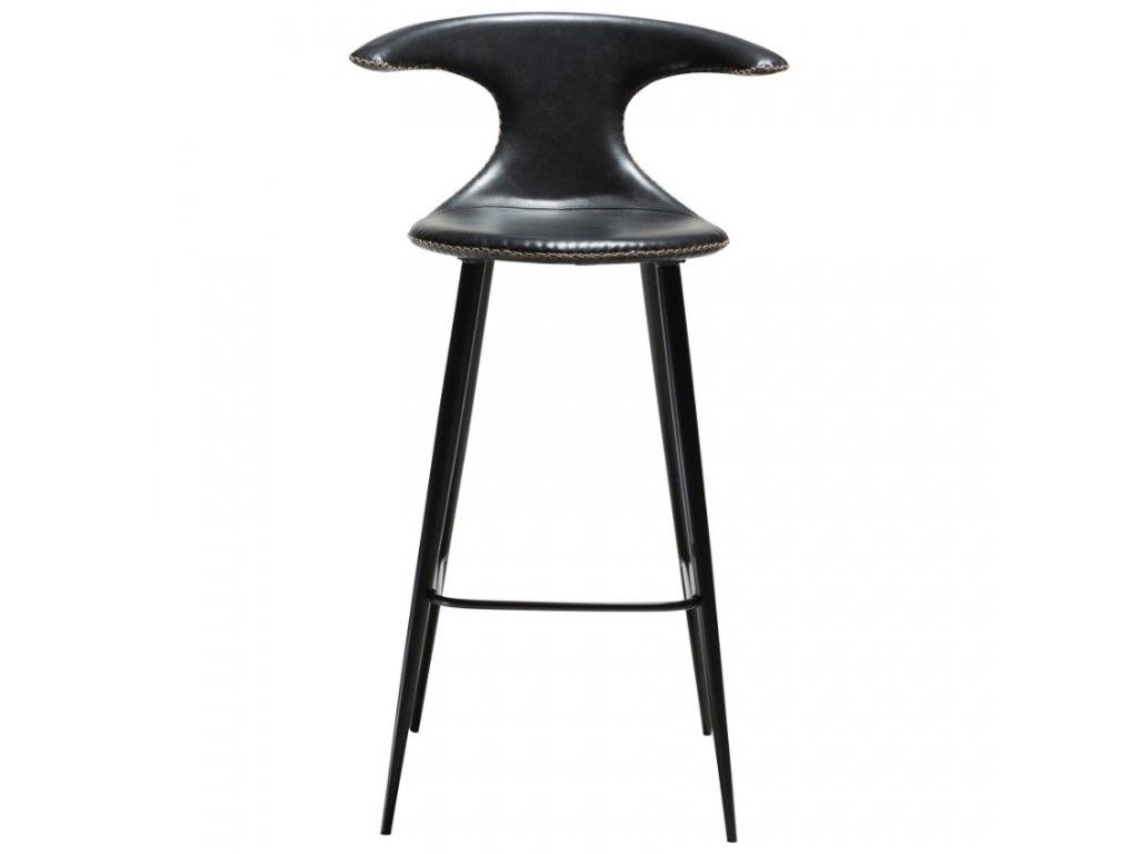 Černá koženková barová židle DAN-FORM Flair, 101 cm