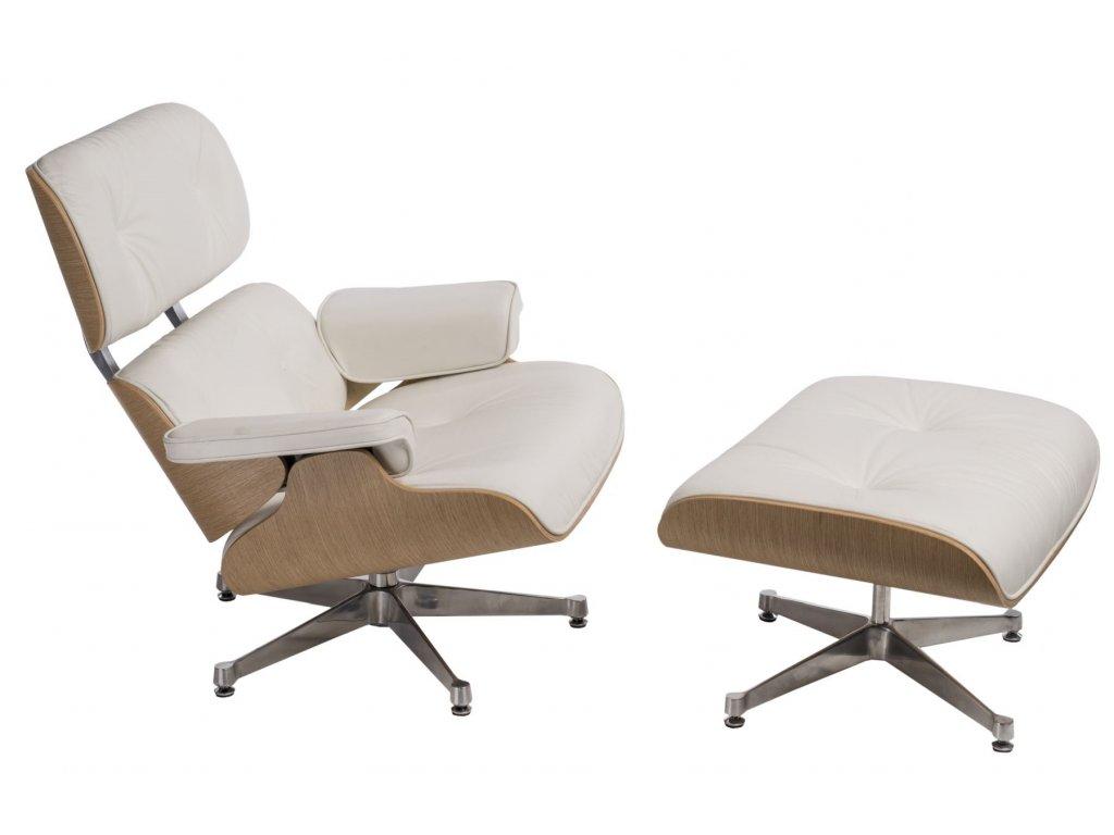 Bílé kožené v dubovém provedení Lounge chair s podnožkou