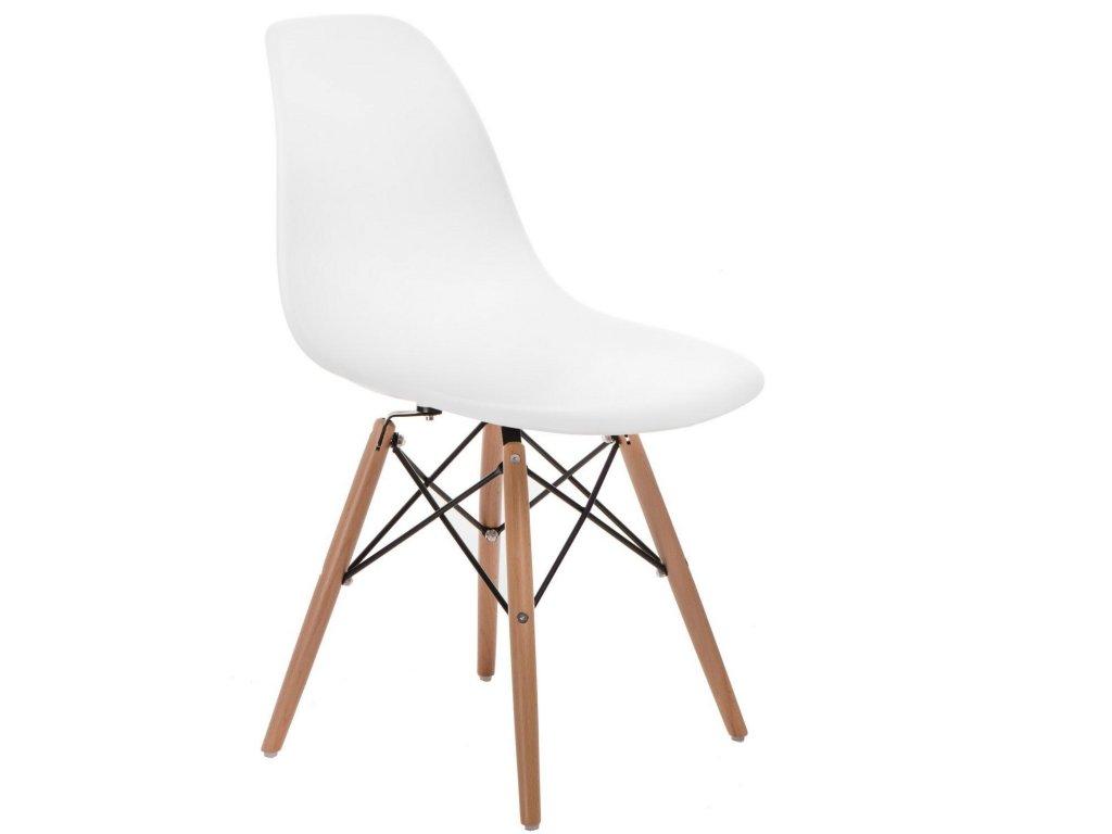 Designová bílá plastová židle DSW s bukovou podnoží