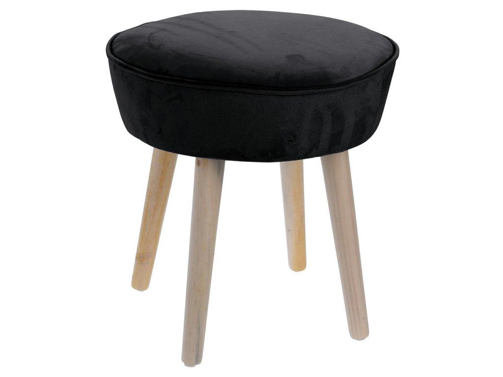 Černá sametová stolička Horacio s dřevěnou podnoží