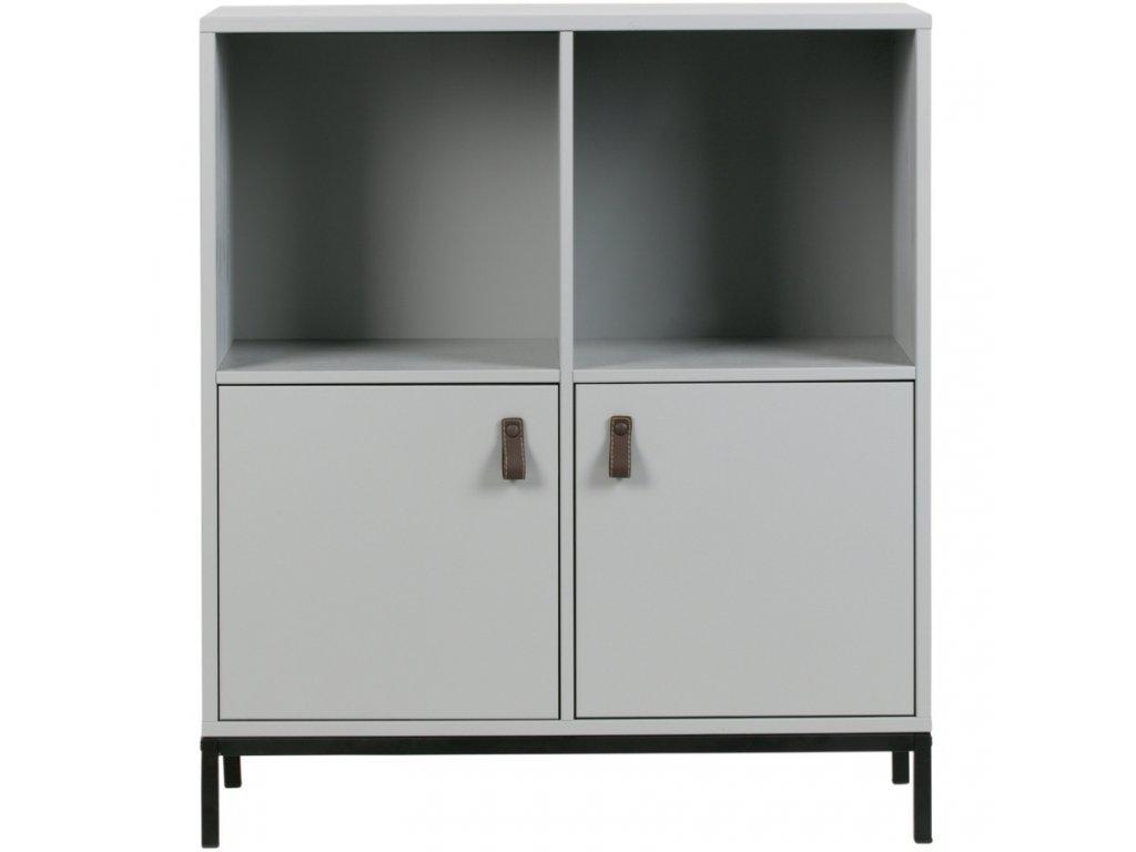 Cementově šedá dřevěná skříň Inara 81 x 35 cm s kovovou podnoží