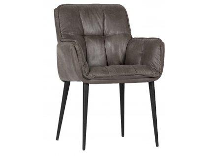 Šedý set dvou čalouněných jídelních židlí Caleb