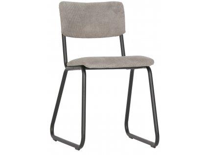 Šedá manšestrová jídelní židle Gill s kovovou podnoží