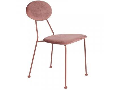 Sametová čalouněná jídelní židle Bold Monkey Kiss The Froggy, růžová barva