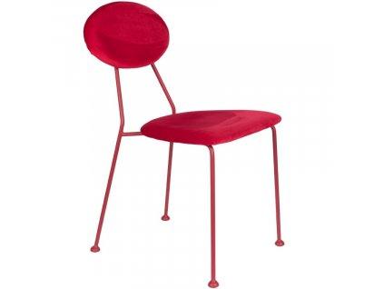 Sametová čalouněná jídelní židle Bold Monkey Kiss The Froggy, červená barva