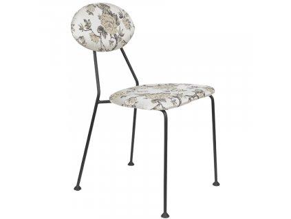 Látková čalouněná jídelní židle s květinovým vzorem Bold Monkey Kiss The Froggy, bílá barva