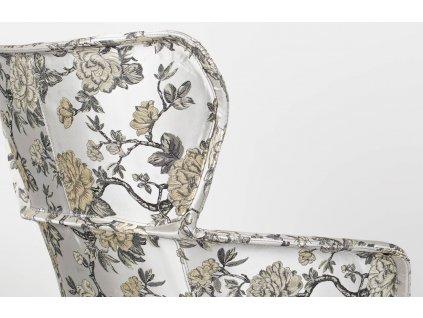 Látkové čalouněné křeslo s květinovým vzorem Bold Monkey Princess have feelings too, šedá barva