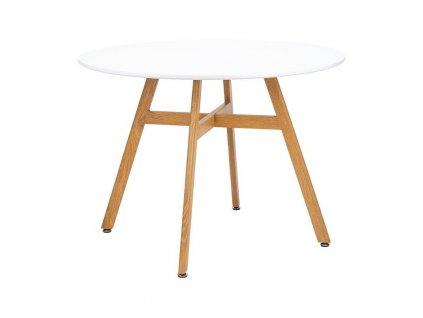 Bílý kulatý dřevěný jídelní stůl Samia I. 100 cm