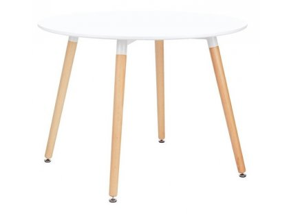 Bílý kulatý dřevěný jídelní stůl Samia II. 100 cm