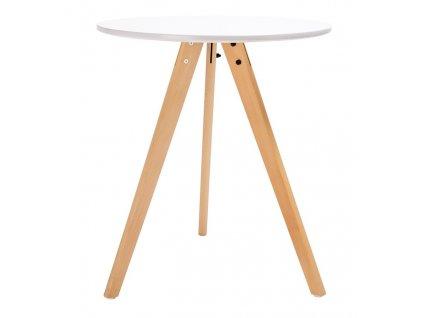 Bílý kulatý dřevěný jídelní stůl Samia III. 60 cm