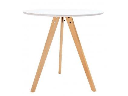 Bílý kulatý dřevěný jídelní stůl Samia III. 80 cm