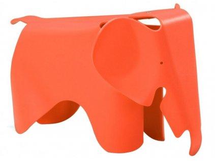 Oranžová dětská plastová stolička Slon