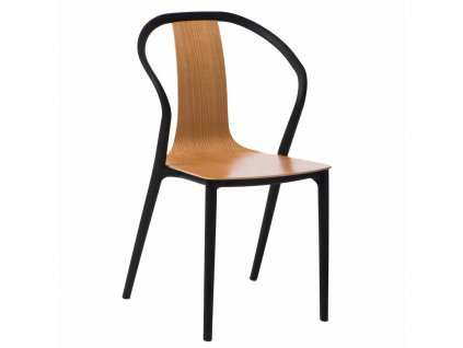 Hnědá plastová jídelní židle Ollie se sedákem z dřevěné překližky