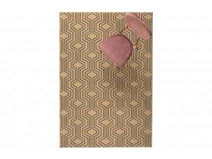 Tkaný koberec s geometrickým vzorem Bold Monkey Swining Lines 160 x 230 cm, béžová hnědá barva