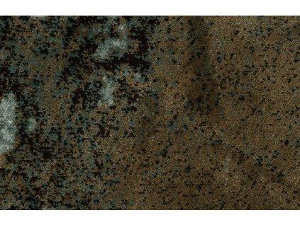 Tkaný kruhový koberec s motivem země a třásněmi Bold Monkey Rocky Ø 175 cm, zelená hnědá barva