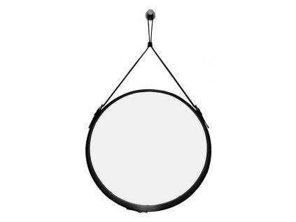 Černé závěsné kulaté zrcadlo RGE Elvis Ø 50 cm s páskem