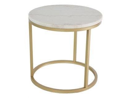 Zlatý mramorový konferenční stolek RGE Accent Ø 50 cm, bílá mramorová deska