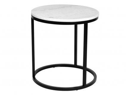 Černý mramorový konferenční stolek RGE Accent Ø 50 cm, bílá mramorová deska