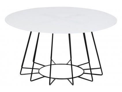 Bílý skleněný konferenční stolek Spyder 80 cm s černou podnoží