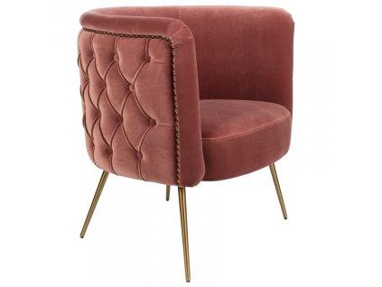 Růžové sametové lounge křeslo Bold Monkey Such A Stud