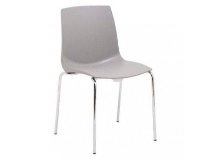 Šedá plastová jídelní židle Laura