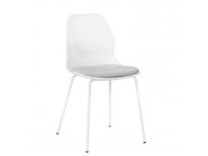 Bílá kovová jídelní židle Malia s čalouněným sedákem