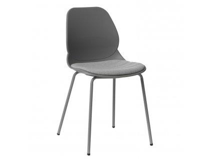 Šedá kovová jídelní židle Malia s čalouněným sedákem