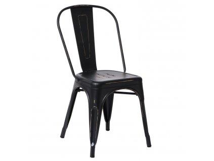Černá kovová jídelní židle Tolix s patinou