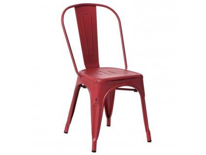 Červená kovová jídelní židle Tolix s patinou