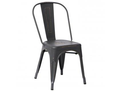 Šedá kovová jídelní židle Tolix s patinou