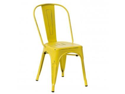 Žlutá kovová jídelní židle Tolix s patinou