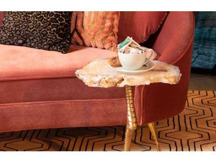 Surrealistický odkládací stolek s achátovou deskou Bold Monkey Beauty And The Bird, bílá, zlatá barva
