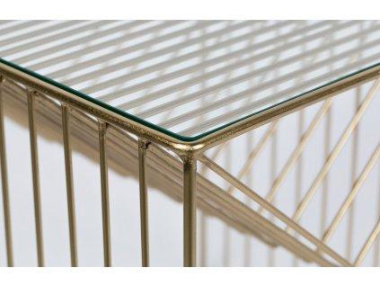 Skleněný kovový odkládací stolek s úložným prostorem Bold Monkey Money On My Mind, bronzová barva