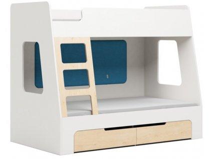 Modrá dětská patrová postel DEVOTO Nimbo I. s úložným prostorem