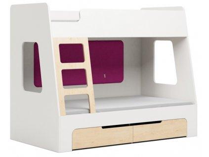 Růžová dětská patrová postel DEVOTO Nimbo I. s úložným prostorem