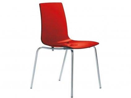 Červená transparentní plastová jídelní židle Last