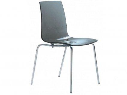 Antracitová transparentní židle Last