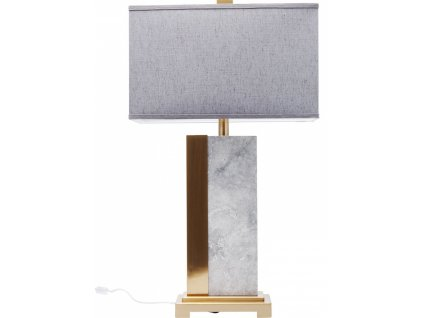 Mramorová stolní lampa Charleston 80 cm s mosazným podstavcem a lněným stínidlem