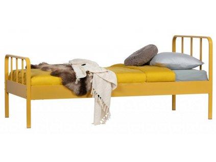 Žlutá kovová postel Sheldo