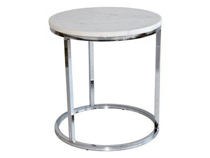 Chromový mramorový konferenční stolek RGE Accent Ø 50 cm, bílá mramorová deska