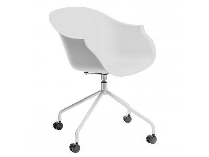 Bílá otočná plastová židle na kolečkách Duke