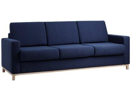 Tmavě modrá čalouněná rozkládací pohovka Skandi s dřevěnou podnoží