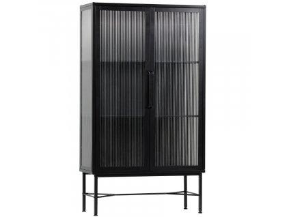 Černá kovová vitrína Chloe 150 x 85 cm