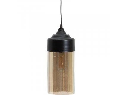 Závěsné hnědé skleněné kovové světlo Suranne 16 cm