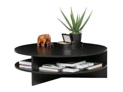 Černý kulatý dřevěný konferenční stolek Richard 100 cm