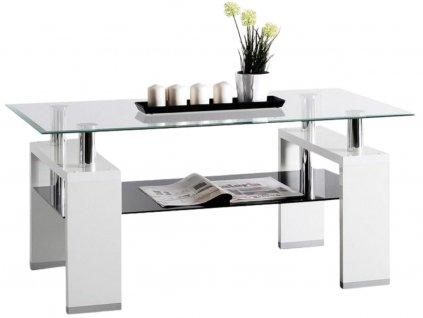 Bílý skleněný konferenční stolek Dia 110 x 60 cm