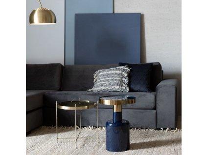 Smaltovaný tmavě modrý odkládací stolek Glam